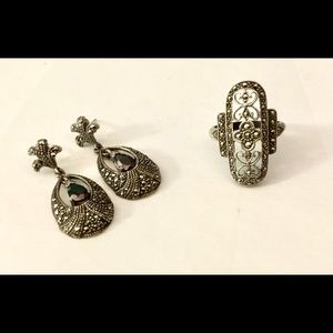 Marcasite Ring And Earring Set